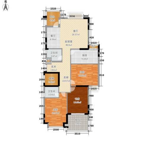 半岛花园3室0厅2卫1厨166.00㎡户型图