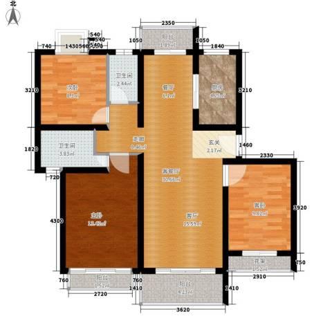 高行银杏苑3室1厅2卫1厨96.00㎡户型图
