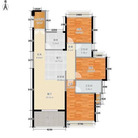 阳光圣菲3室0厅2卫1厨120.00㎡户型图