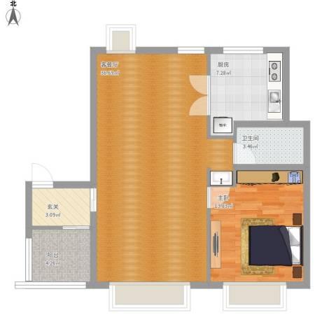 香梅假日花园1室1厅1卫1厨96.00㎡户型图
