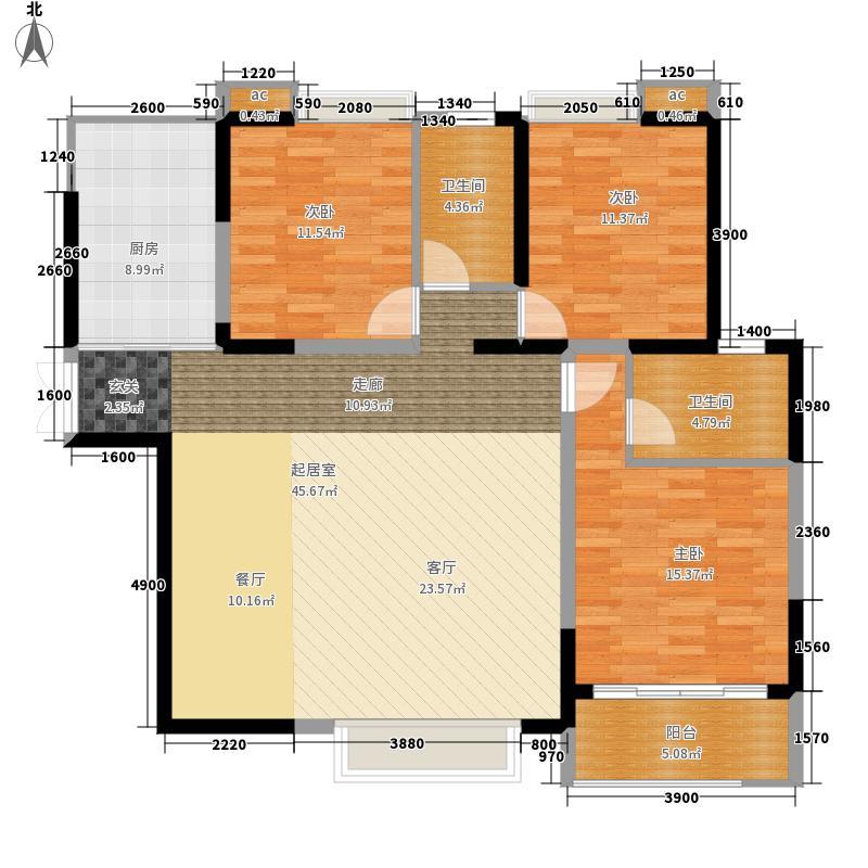 国润翠湖141.80㎡3#楼C标准层户型