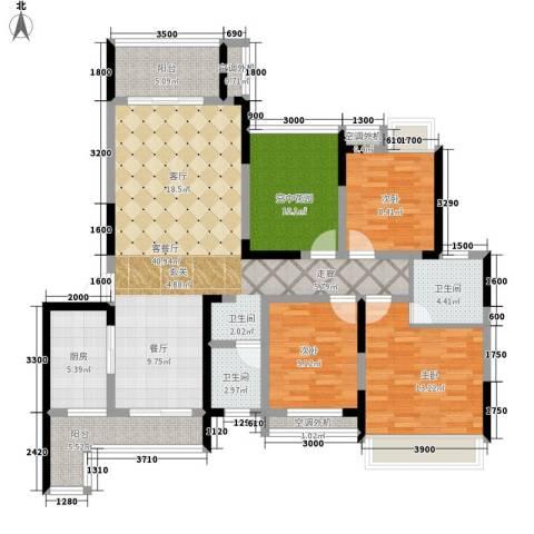 潇湘名城3室1厅2卫1厨158.00㎡户型图
