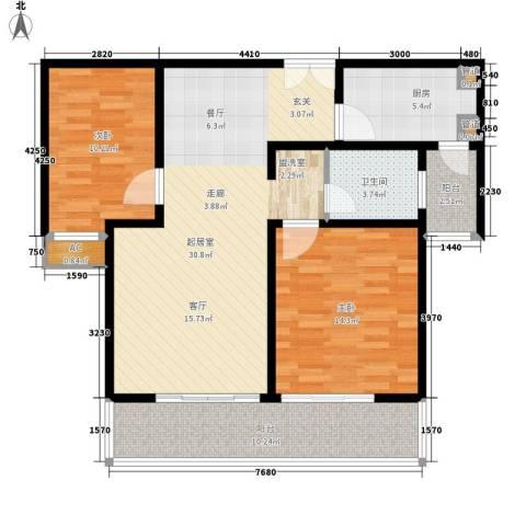 合生城邦三街坊2室0厅1卫1厨90.00㎡户型图