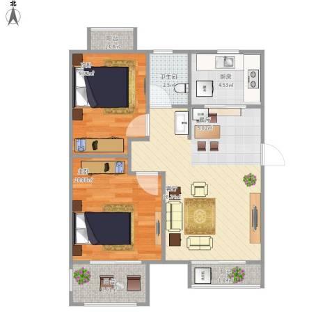 天成郡府2室1厅1卫1厨73.00㎡户型图