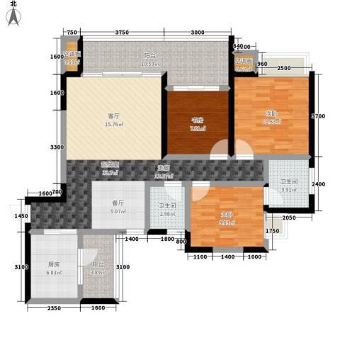 紫晶丽苑3室0厅2卫1厨90.69㎡户型图