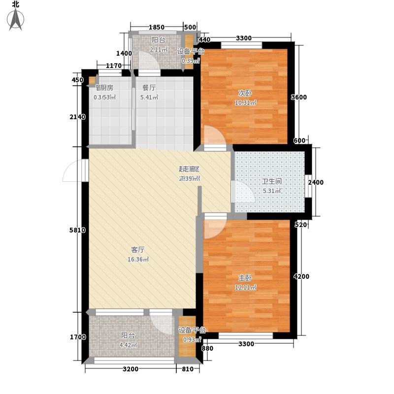 碧桂园银河城82.38㎡C-01户型2室2厅