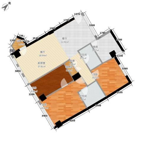 西钓鱼台嘉园3室0厅2卫1厨123.00㎡户型图