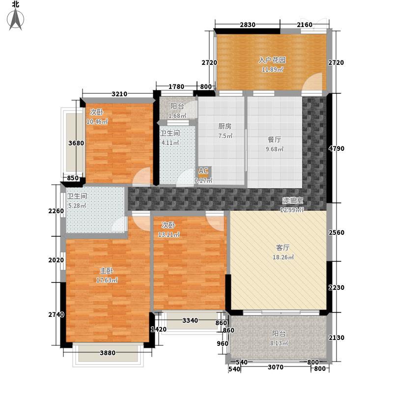 中洲中央公园(深圳)114.29㎡D方-方户型3室2厅
