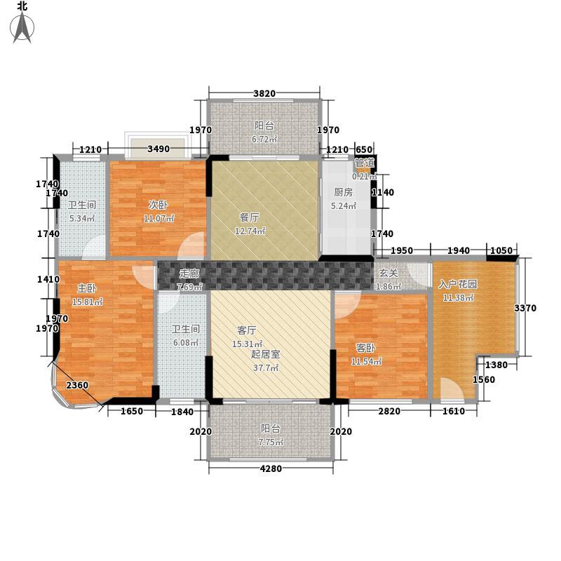 德洲城129.00㎡至尊三房3室2厅2卫户型3室2厅2卫