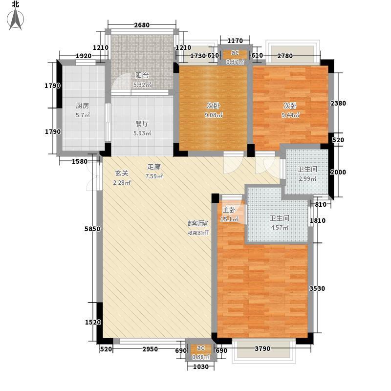渝水坊二期100.94㎡一期8号楼1单元1层2号房3室户型
