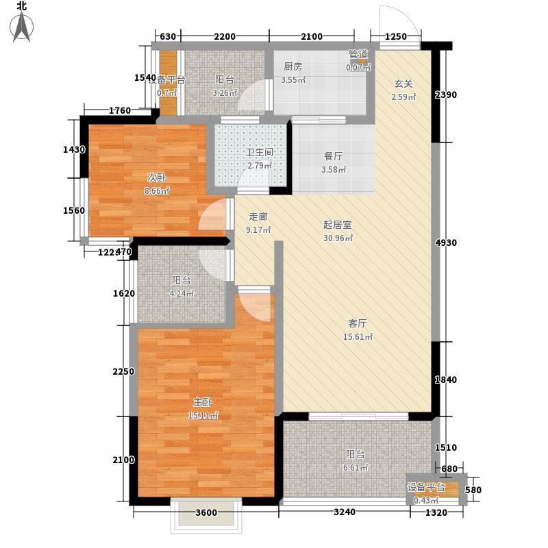 鑫远御文台D-3型户型2室2厅