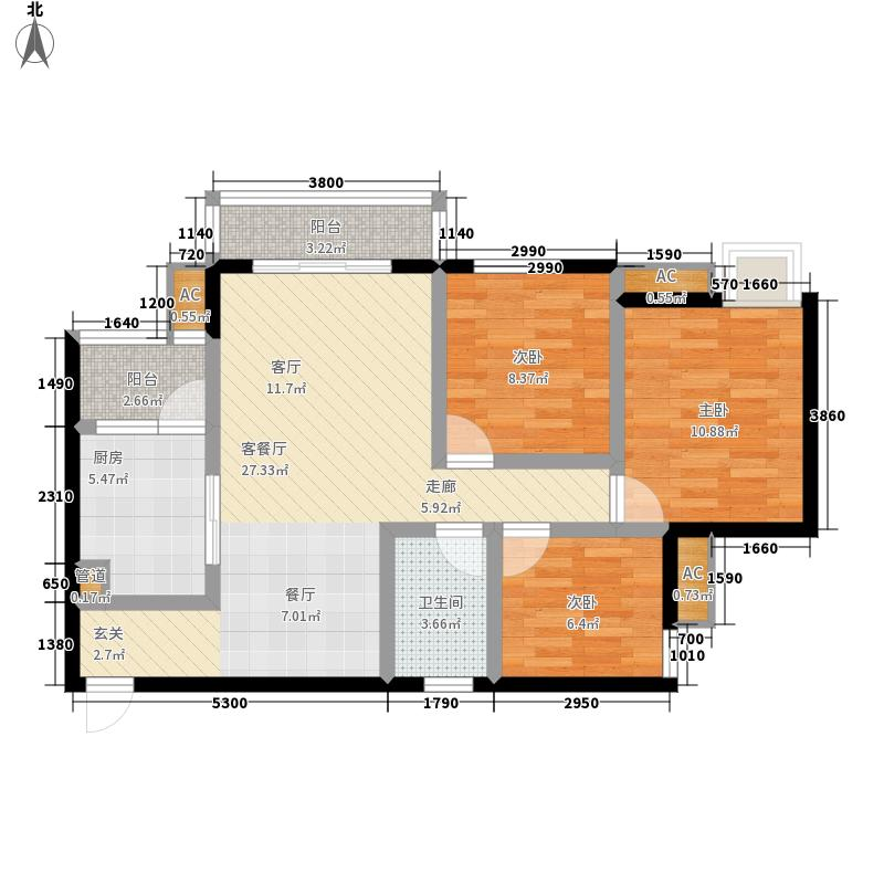 华兴观澜上域96.16㎡华兴・观澜上域一期7#、8#楼D2/D6户型