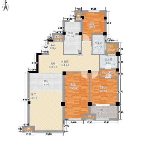 恒威国际城3室1厅2卫1厨126.00㎡户型图