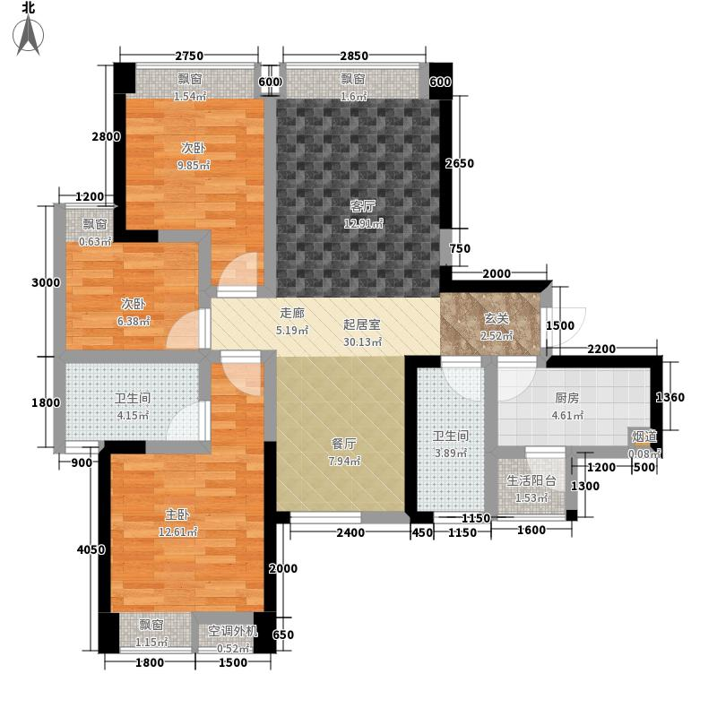 中铁瑞景颐城88.68㎡一期9、11号楼标准层B2户型
