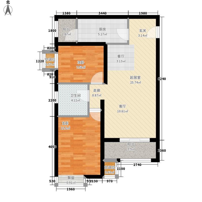 保利玫瑰湾88.00㎡三期高层标准层E2户型