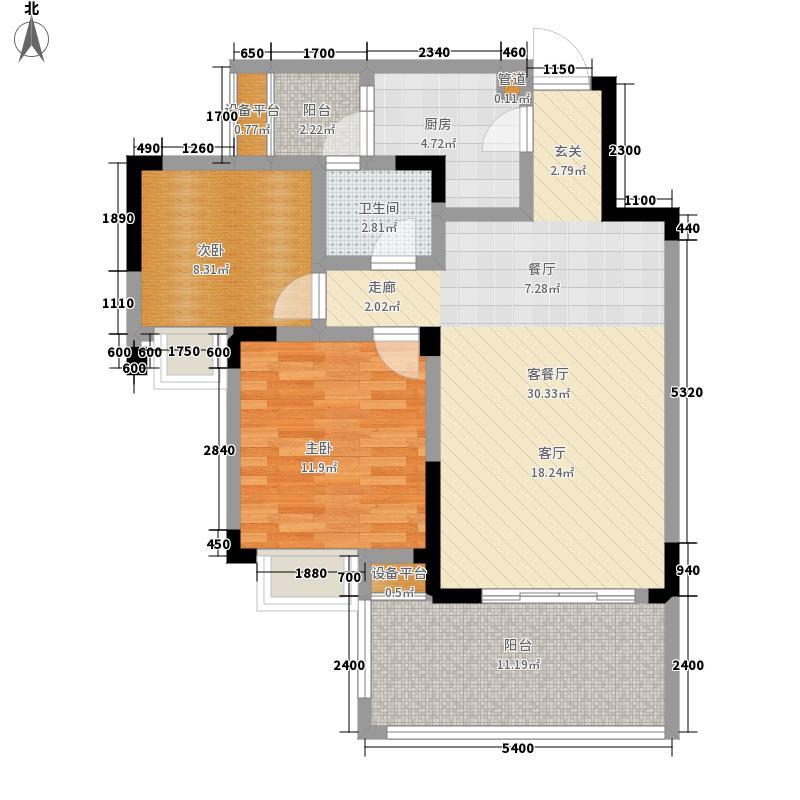 芙蓉山水浣溪85.98㎡1期3、4、5、6、7栋标准层C2户型