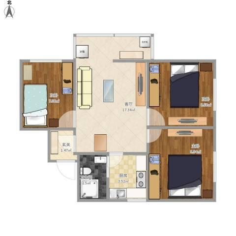 竹园小区3室1厅1卫1厨68.00㎡户型图