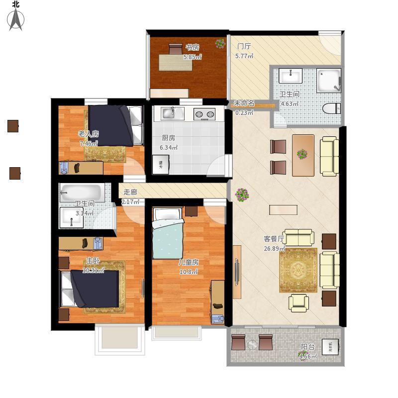 三室二厅二卫一厨