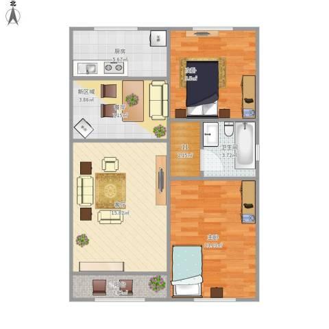 朝阳北部湾2室2厅1卫1厨82.00㎡户型图