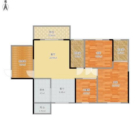 龙光海悦华庭3室1厅2卫1厨111.00㎡户型图
