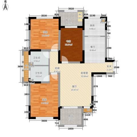 空港国际星城3室0厅2卫1厨118.00㎡户型图