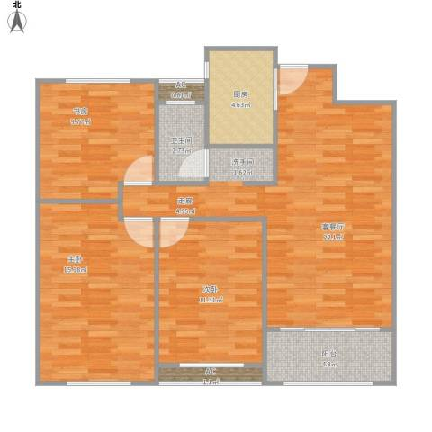 天朗大兴郡5期君城3室1厅1卫1厨106.00㎡户型图