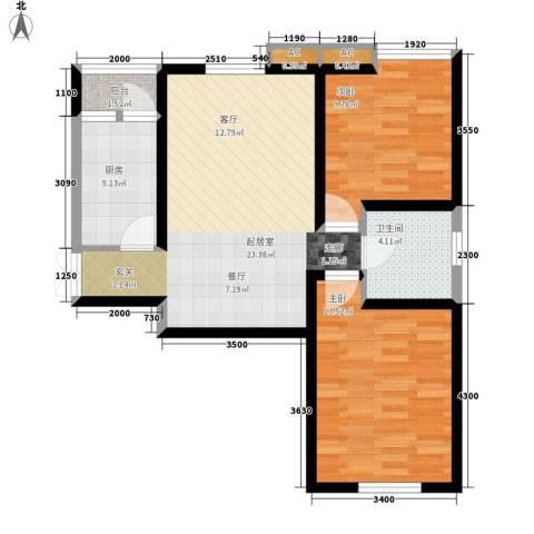 弘泽印象2室0厅1卫1厨85.00㎡户型图