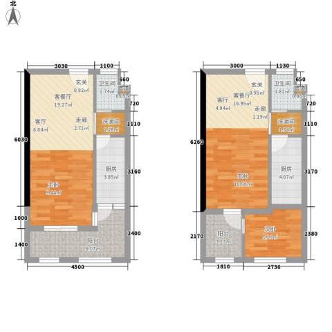 ID空间1室2厅2卫2厨64.94㎡户型图