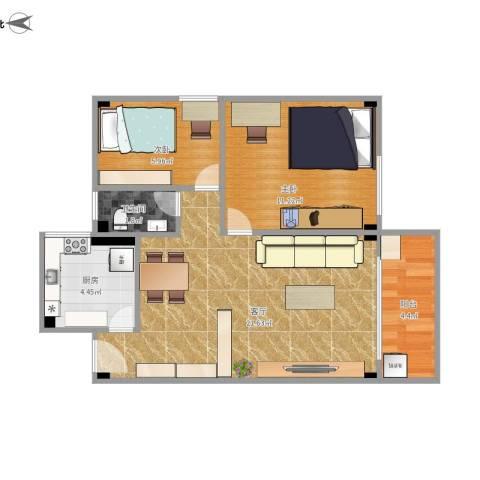 明珠广场2室1厅1卫1厨68.00㎡户型图