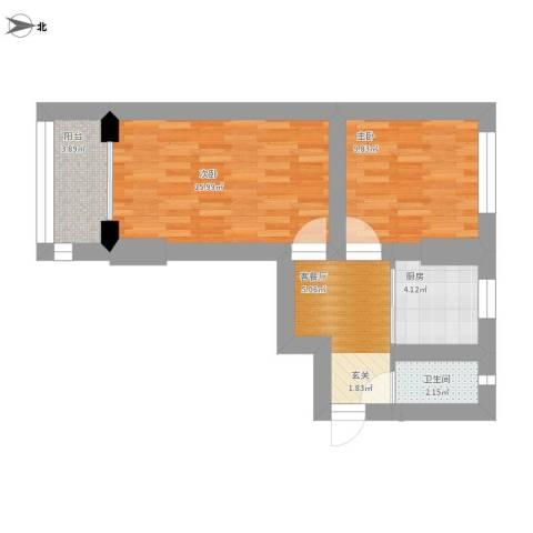 红旗楼2室1厅1卫1厨70.00㎡户型图