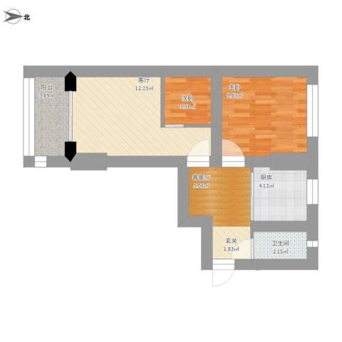 红旗楼2室2厅1卫1厨70.00㎡户型图
