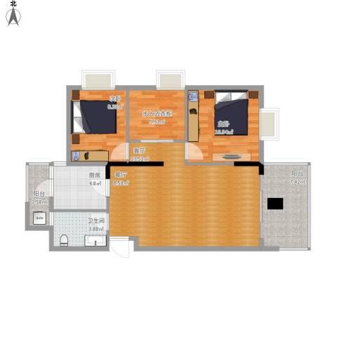招商花园城2室1厅1卫1厨100.00㎡户型图