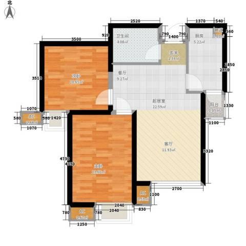 弘泽印象2室0厅1卫1厨90.00㎡户型图