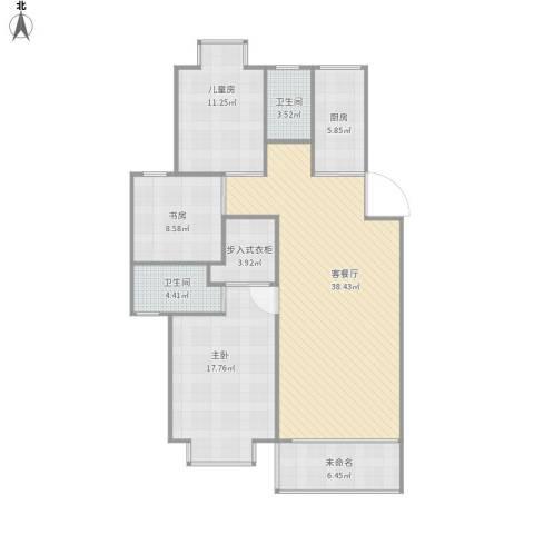 亚华新城邦•锦园3室1厅2卫1厨135.00㎡户型图