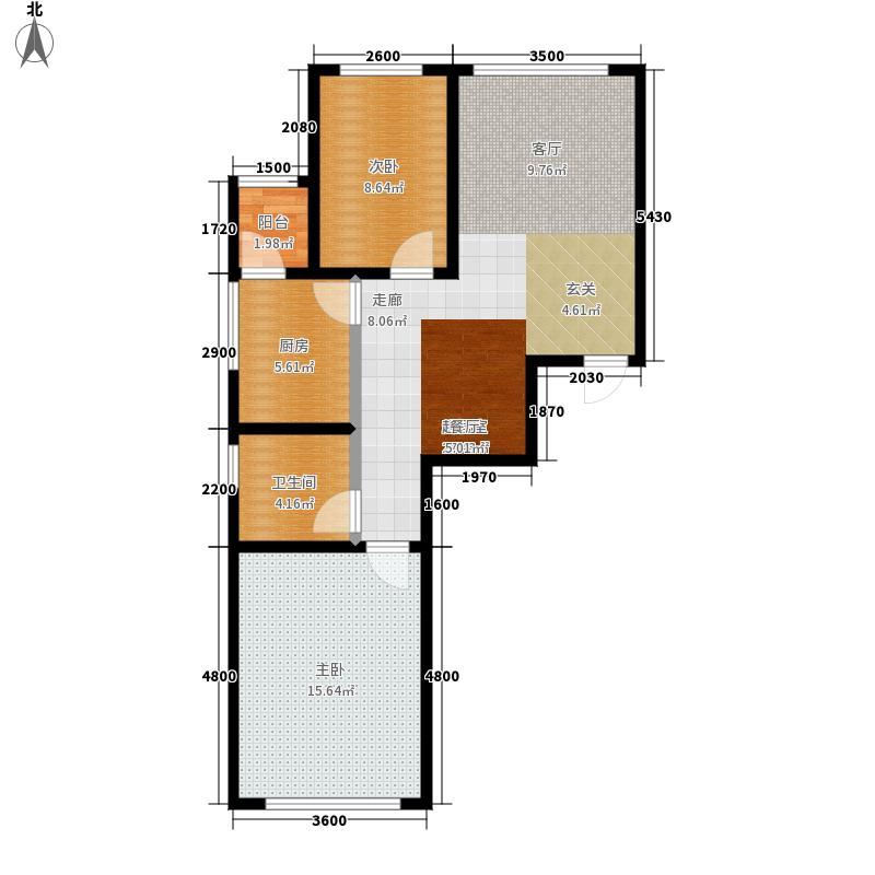 天鸿理想家园88.50㎡两室两厅一厨一卫88.5平米户型图户型2室2厅1卫