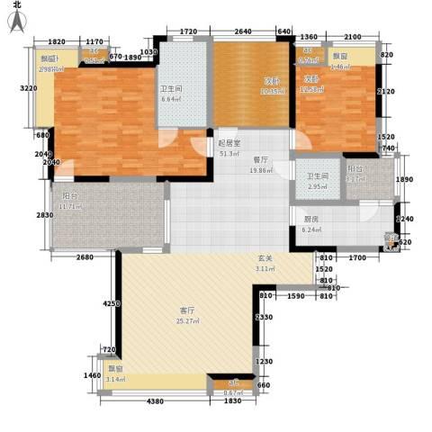 春风城市心筑3室0厅2卫1厨131.33㎡户型图