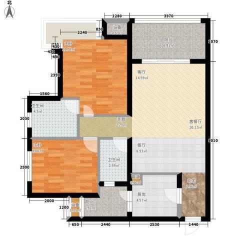 南岭雅舍2室1厅2卫1厨300.00㎡户型图