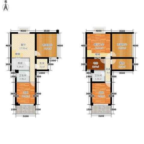 东方领秀3室1厅2卫1厨118.00㎡户型图