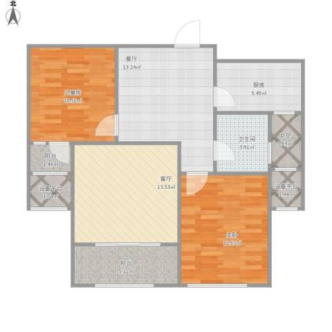 红石原著小区2室2厅1卫1厨97.00㎡户型图