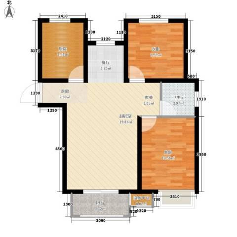 阳光心屿2室0厅1卫1厨89.00㎡户型图