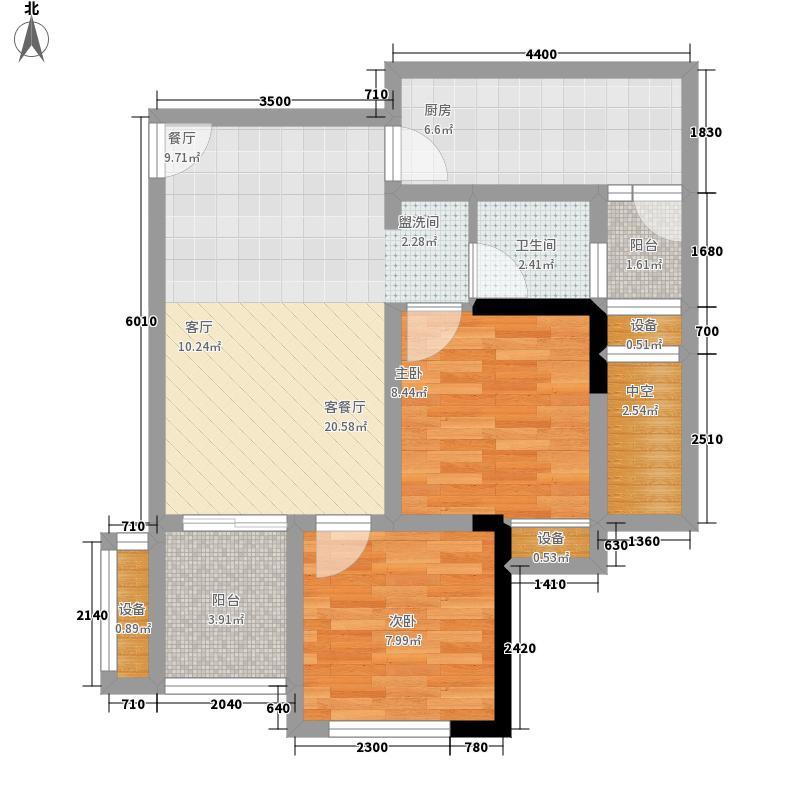 斌鑫西城熙街58.69㎡一期1号楼标准层6号房户型