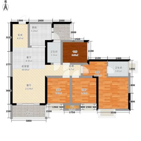 奥园金域4室0厅2卫1厨92.00㎡户型图