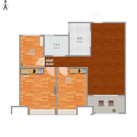 紫金江尚3室1厅1卫1厨104.00㎡户型图