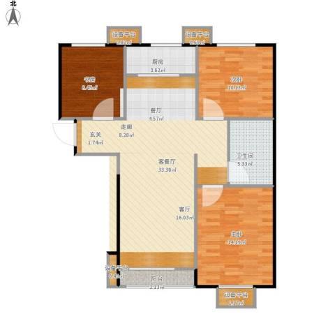 万科城3室1厅1卫1厨109.00㎡户型图
