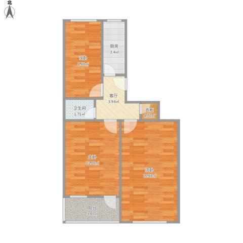 龙蟠里3室1厅1卫1厨55.78㎡户型图