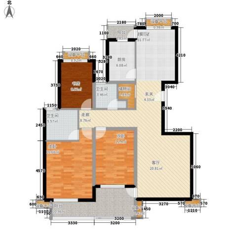欣晟家园3室0厅2卫1厨128.00㎡户型图