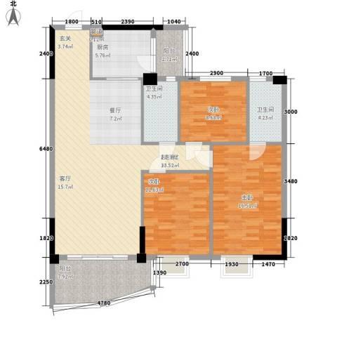金泰瑞和园3室0厅2卫1厨128.00㎡户型图