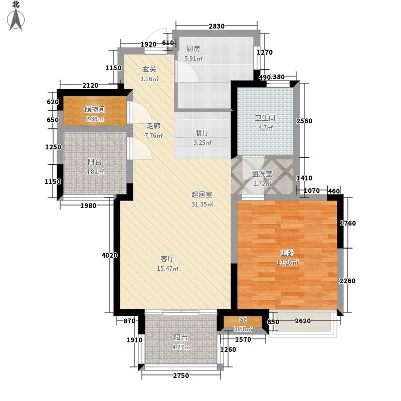 金地自在城77.00㎡32、33、34号楼标准层平面图D1A户型