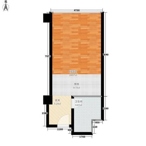 华北城S1主题酒店公寓1卫0厨50.00㎡户型图