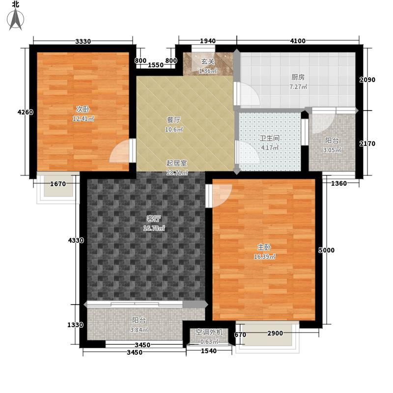绿地新里梵尔赛公馆87.00㎡A1户型2室2厅